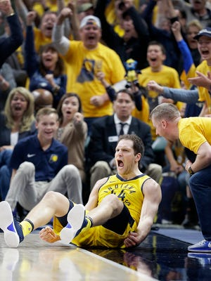 Indiana Pacers forward Bojan Bogdanovic (44) celebrates hitting a three-pointer and getting fouled in the fourth quarter of game #3 of their NBA Eastern Conference playoff game on Friday April 20, 2018. The Indiana Pacers defeated the Cleveland Cavaliers 92-90.