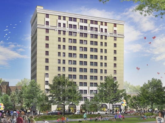 A rendering of a redeveloped Eddystone Hotel.