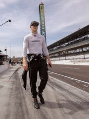Team Penske IndyCar driver Josef Newgarden (1) walks to his pit box before the start practice for the Indianapolis 500 at the Indianapolis Motor Speedway on Thursday, May 17, 2018.