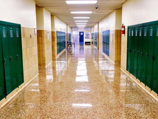 A hallway at Bossier High School.