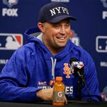 New York Mets' Michael Cuddyer speaks during a news conference before Friday's Game 3 of the Major League Baseball World Series against the Kansas City Royals, Thursday, Oct. 29, 2015, in New York. (AP Photo/Frank Franklin II)