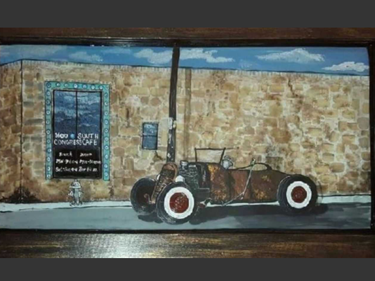 A discarded window is transformed into something interesting and fun by artist Veronica Shmauz, who will have a show all during November at Inspiration Studios, West Allis.