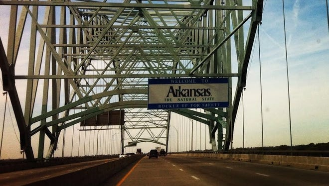 A look at the I-40 bridge as it crosses the Mississippi River from Memphis, Tenn., into Arkansas.