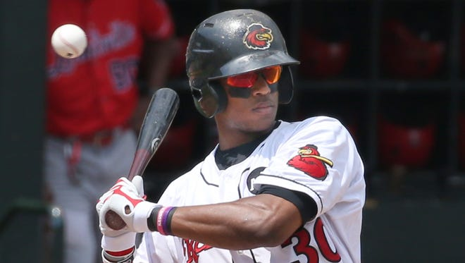 Adam Brett Walker, shown here during a game in late June, belted a game-winning two-run home run on Friday for the Red Wings.