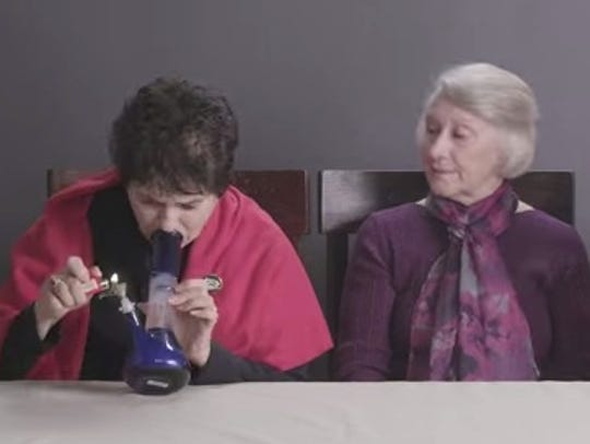One grandma tries a bong for the first time in this