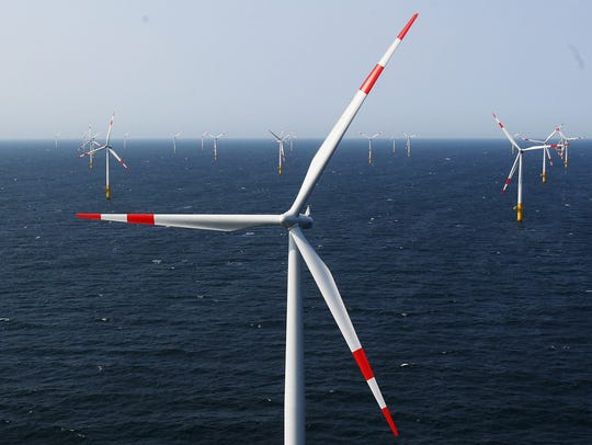 Wind turbines stand in the Baltic 1 offshore wind farm
