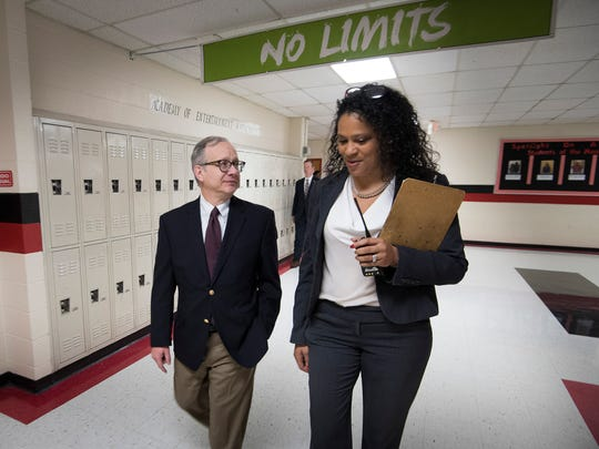 Nashville Mayor David Briley walks with executive principal Sonia Stewart as he tours Pearl Cohn High School Friday, March 23, 2018 in Nashville, Tenn.