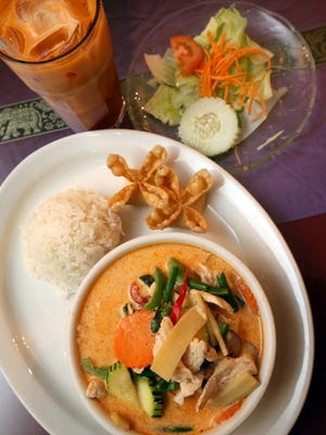The Red Curry with salad a Rama Thai on Walnut Street in Springfield.