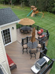An aerial view of a DeckCrafters deck shows how much space homeowners have for grilling, dining and entertaining.