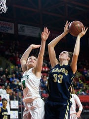 Susquehanna Valley graduate Maeve Donnelly, right, has 17 blocks through six games for UMass.