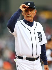 Former Detroit Tigers Manager Jim Leyland is introduced prior to Game Three of the American League Championship Series against the Boston Red Sox at Comerica Park on October 15, 2013 in Detroit, Michigan.