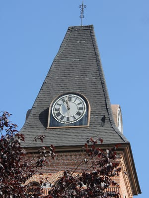 This clock on the Brockport United Methodist Church on Main Street in Brockport, is the only surviving Seth Thomas tower clock in Monroe County.  It is in need of $21,500 in repairs.