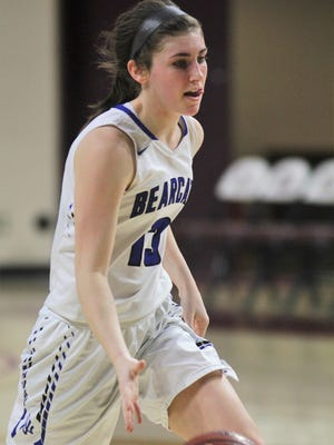 """Walton-Verona senior Brooke Perry dribbles the ball during last year's All """"A"""" state tournament."""