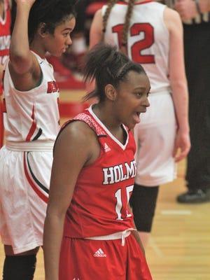 Holmes senior Tyrah McClendon-Englemon during Holmes' 76-30 girls basketball win over Beechwood Jan. 31, 2018 at Beechwood High School, Fort Mitchell KY.