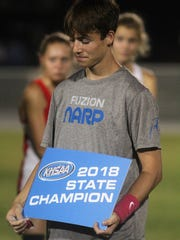 Lloyd eighth-grader Jake Davidson with his state championship