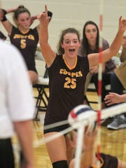 Cooper senior Morgan Kelly August 16, 2018 as Notre Dame beat Cooper 3-1 in volleyball.