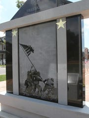 The rear of the new World War II monument in Freehold features the image of marines raising the American flag on Mount Suribachi on Iwo Jima.