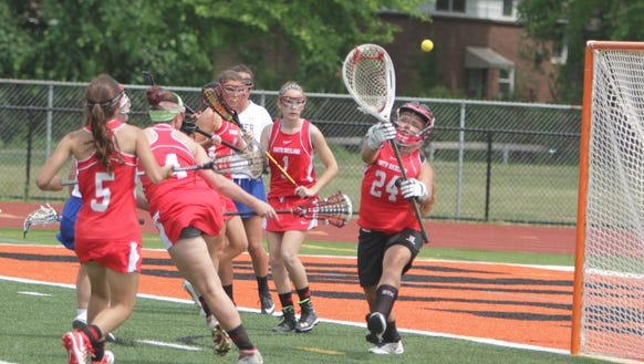 North Rockland goalie Gianna Guerra makes a save during