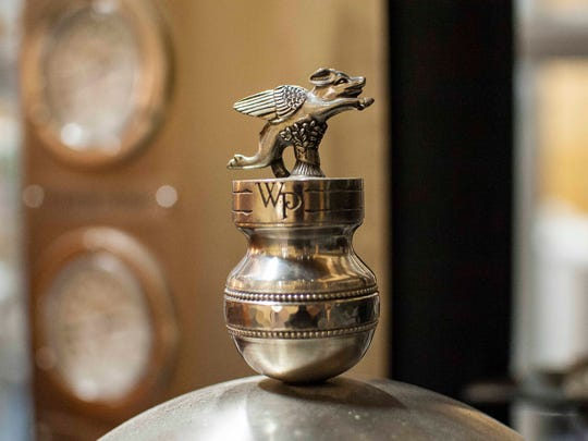Raj Bhakta has renovated a 100-year-old barn in Shoreham, transforming it into a distillery for WhistlePig rye whiskey. The vapor trap in the still, named after Mortimer, the company's recently-deceased porcine mascot, is topped with an ornamental pig. Seen on Wednesday, October 28, 2015.