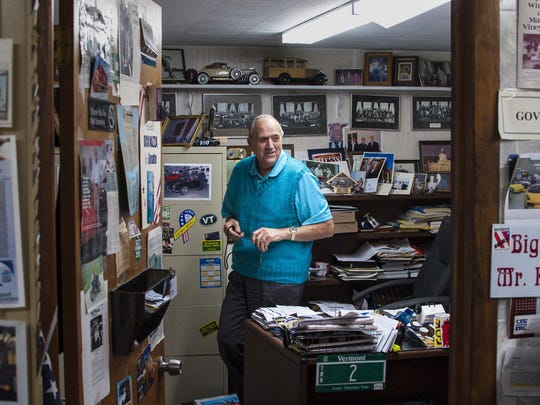 Dick Mazza, a state senator from Chittenden and Grand Isle Counties, has worked at Dick Mazza's General Store in Colchester for more than 60 years. He is seen at his office in the back of the store on Wednesday, May 18, 2016.
