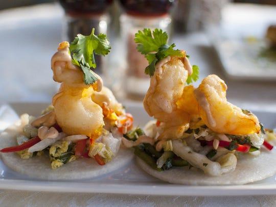 Jicama tacos with crispy shrimp with jicama cilantro