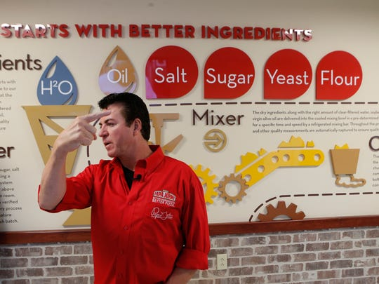 John Schnatter, founder of Papa John's Pizza makes a point while giving a tour of his company's headquarters. By Pat McDonogh, The Courier-Journal. Jan. 26, 2016. [Via MerlinFTP Drop]