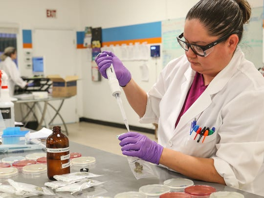Nicole Hernandez tests marijuana for California compliance testing at PharmLabs cannabis testing lab in Coachella, July 3, 2018.
