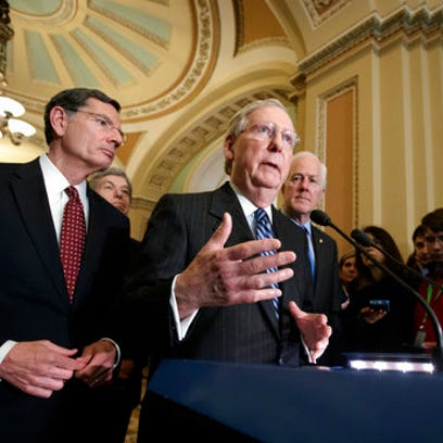 Senate Majority Leader Mitch McConnell, R-Ky., joined