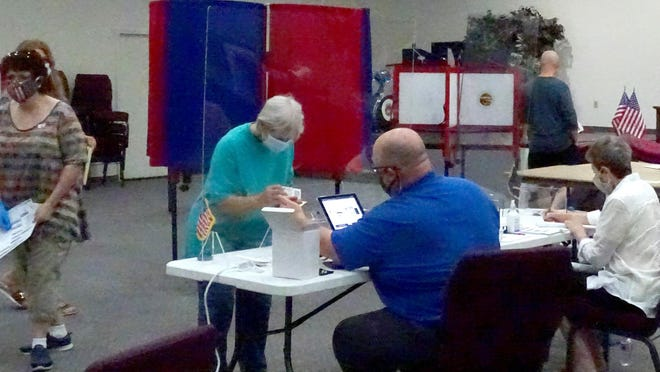 The polls will be open to 7 p.m. Tuesday for the public to cast their votes in the 2020 Kansas Primary. Voters need to bring an ID and wear a mask when entering the polling station. [PHOTO BY GREG MAST/THE OTTAWA HERALD].