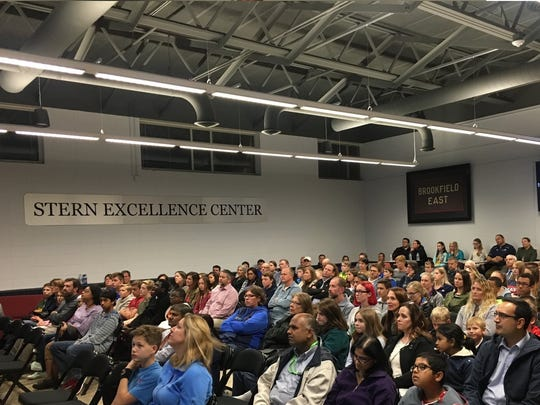 Private school families gather in the Stern Excellence Center for a private school event at Brookfield East High School.