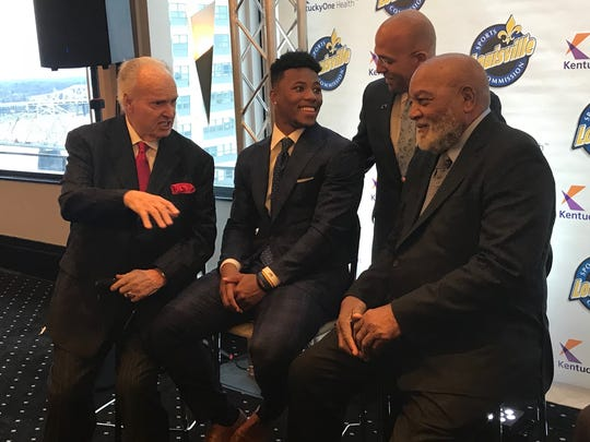 From left to right: Paul Hornung, Saquon Barkley, James