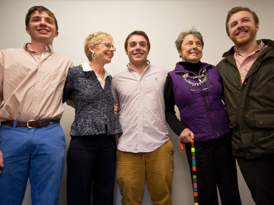 From left, John Fox, mother Gale Fox, Ryan Fox, grandmother Allis D'Amanda, and Griffen Fox pose for a photo during a press event with Seth Rogen and Lauren Miller. The Fox brothers, triplets, helped organized UVM Fraternity Pi Kappa Alpha and Sorority Alpha Chi Omega fundraising efforts, generating $30,649 for HFC U, the collegiate program of the Rogen's organization Hilarity for Charity.