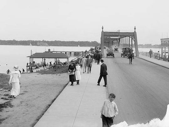 View of the first Belle Isle Bridge, which burned in