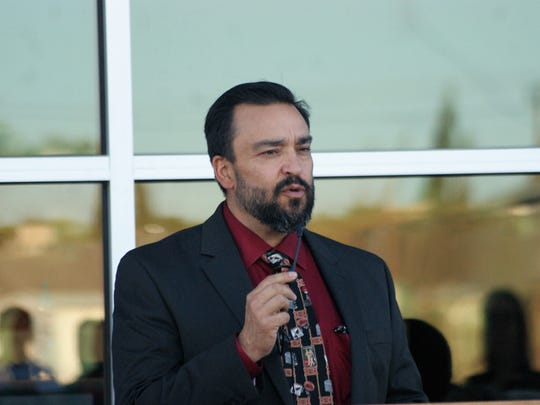 Deming Superintendent Arsenio Romero, pictured here at the ribbon cutting for Deming High School in October, has been an enthusiastic proponent of Principals Pursuing Excellence and Teachers Pursuing Excellence at school board meetings since he started on the job last summer.