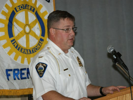 Fremont Police Chief Dean Bliss, speaking to Fremont Rotary members on Monday, said drug overdose deaths have been decreasing in 2017.