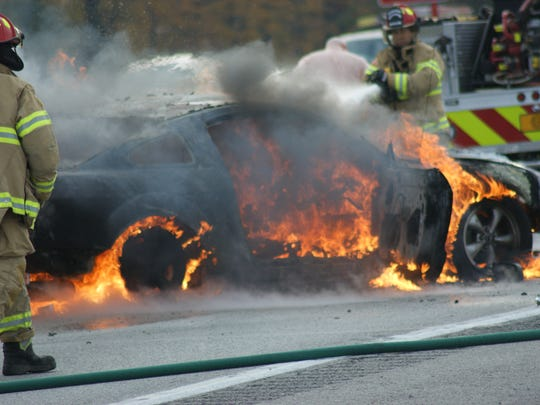 Vehicle catches on fire after two-vehicle crash on U.S. 20 and County Road 198 in November 2017.