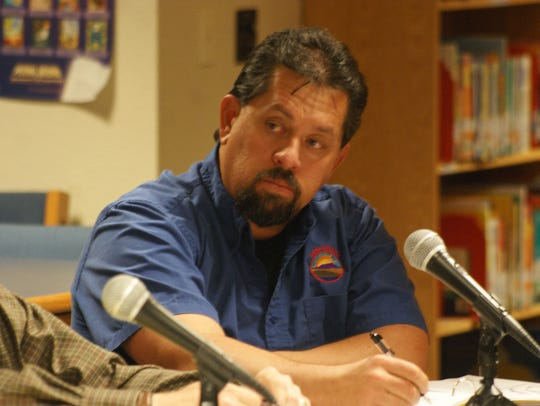Deming school board member Billy Ruiz, seen during a 2017 public meeting at Columbus Elementary School, Columbus NM.