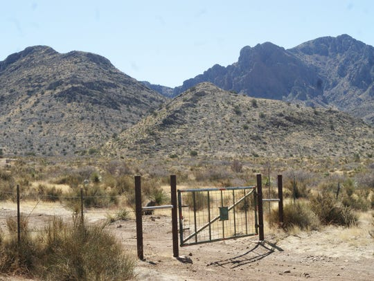 A gate on federal land in Luna County controlled by the U.S. Bureau of Land Management gives way to a path leading to a dolomite deposit that David Tognoni believed was rich in magnesium.
