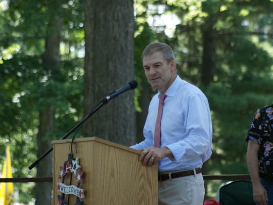 U.S. Rep. Jim Jordan, R-Urbana, speaks at a Tea Party event July 4, 2018, in Fremont's Birchard Park.