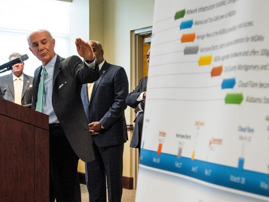 City / County Chief Info and Techonology officer Lou Ialacci speaks as the City and County of Montgomery and Alabama State University announce that ASU is joining the Montgomery Internet Exchange at the ASU campus in Montgomery, Ala. on Thursday May 24, 2018.