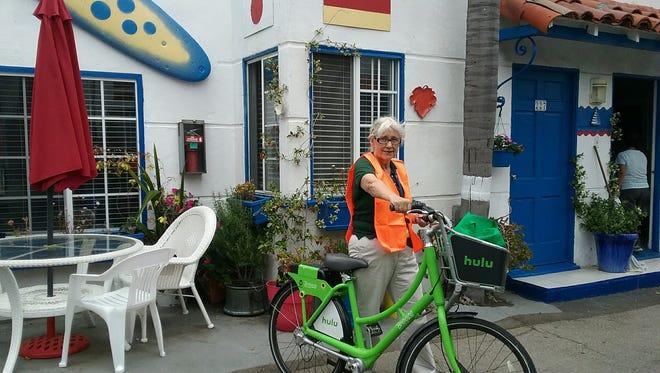 The writer with her Bikeshare vehicle Tuesday, Santa Monica.