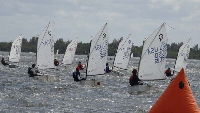 A fleet of Optimist sailboats, called Optis, raced March 4 on the course in the Indian River Lagoon near Jensen Beach  during the 2017 USODA Sunshine State Championships.