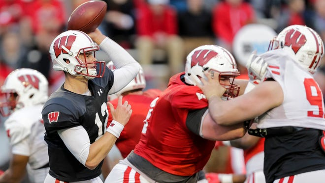 Quarterback Alex Hornibrook, who started all of Wisconsin's Big Ten games last season, looks more confident this year.