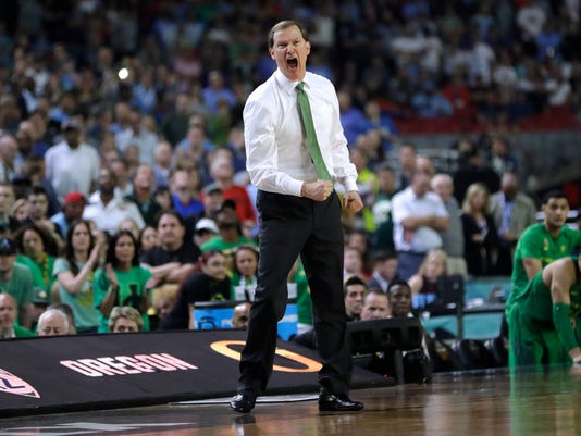 Oregon head coach Dana Altman reacts during the second half against North Carolina in the semifinals of the Final Four NCAA college basketball tournament, Saturday, April 1, 2017, in Glendale, Ariz. North Carolina won 77-76. (AP Photo/David J. Phillip)
