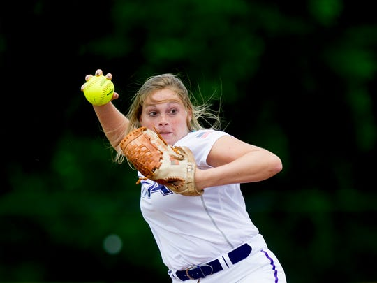 King's Academy's Taylor Weekly (5) throws home during