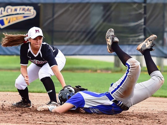 Milford's Kayla Pennebaker (left) can't make the tag in time after Lakeland's Chase Schultz legs out a double.