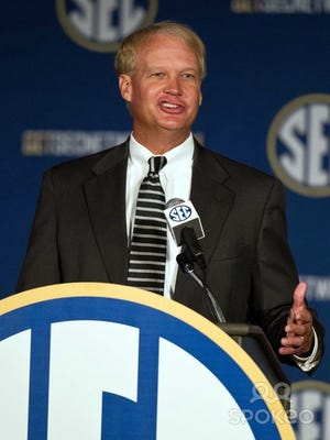 SEC coordinator of football officials Steve Shaw talks to the media during the SEC Football Media Days at the Wynfrey Hotel.