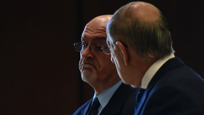 Bloomfield Township Councilman Elias Chalet, left, recounts to his attorney Peter Till and the court how he took the money, during his guilty plea to bribery charges before Essex County Superior Court Judge Martin Cronin on Tuesday morning, May 9, 2017.