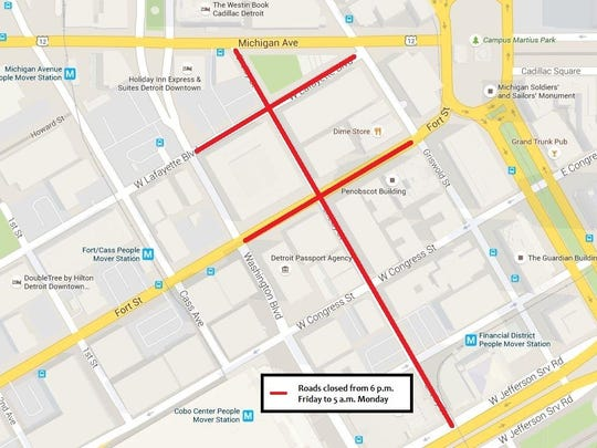 Road closures for filming this weekend will begin 6 p.m. and last until 5 a.m. Monday, officials said.