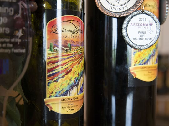 Bottles of wine from Lightning Ridge Winery in Elgin, Ariz. The Montepulciano, pictured on the right, was named Best In Class at the 2018 San Francisco Chronicle Wine Competition.